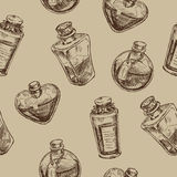 Seamless pattern with magic glass flasks. Science potions doodle style sketch. Alchemy and wonderful science Stock Photo