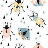 Seamless pattern with magic insects and triangles stock illustration