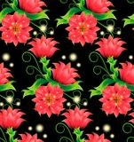 Seamless pattern with magic red flowers on black. Seamless pattern with decorative magical red flowers, bright, green leaves, curls and sprouts on a black Stock Image