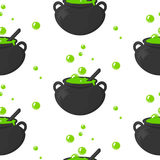 Seamless pattern with magic stuff potion pot. Background of the witch. Royalty Free Stock Image