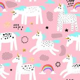 Seamless Pattern with Magic Unicorns and Rainbow. Childish Fairytale Background for Fabric Textile, Wallpaper, Wrapping. Paper, Decoration. Vector illustration Stock Photography