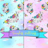 Seamless pattern with magic unicorns. sky background with stars. Set. 4 Vector stock illustration
