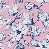 Seamless pattern of magnolia flower on a pink paper background stock illustration