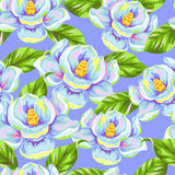 Seamless pattern with magnolia flowers. Bright buds and leaves.  Royalty Free Stock Image