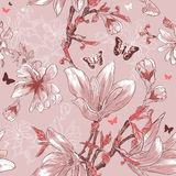 Seamless pattern with magnolia flowers and butterf Stock Photo