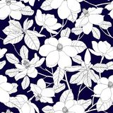 Seamless pattern with magnolia flowers and leaves on blue backgr Stock Image