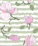 Seamless pattern with magnolia flowers vector illustration