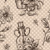 Seamless pattern with magnolia, lily flowers, candles and perfume bottle Stock Photos