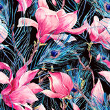Seamless Pattern with Magnolia and Peacock Feather stock image