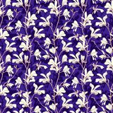 Seamless pattern with magnolia tree blossom. Purple floral background with branch and white magnolia flower. Spring. Design with big floral elements. Hand drawn vector illustration