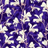 Seamless pattern with magnolia tree blossom. Purple floral background with branch and white magnolia flower. Spring. Design with big floral elements. Hand drawn stock illustration