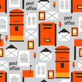 Colorful seamless pattern with mail boxes, envelopes and letters vector illustration