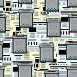 Seamless pattern a mailbox with newspapers. Vector illustration. Royalty Free Stock Images