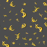 Seamless pattern of main money currency signs different sizes on gray. Vector illustration Stock Images