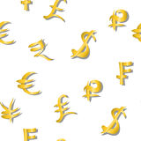 Seamless pattern of main money currency signs same sizes on white. Vector illustration Stock Photo