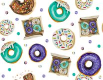 A seamless pattern is mainly made up of donuts and various festive elements and decor objects. Watercolor pattern on a white background easily tiles and creates Royalty Free Stock Image