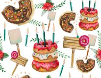 A seamless pattern is mainly made up of donuts and various festive elements and decor objects. Watercolor pattern on a white background easily tiles and creates Stock Image