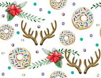A seamless pattern is mainly made up of donuts and various festive elements and decor objects. Watercolor pattern on a white background easily tiles and creates Stock Photo