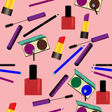 Seamless pattern with makeup objects Royalty Free Stock Images