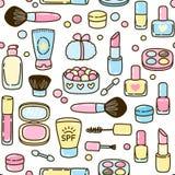 Seamless pattern with makeup set Stock Photos