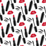 Seamless pattern makeup vector illustration Royalty Free Stock Photography