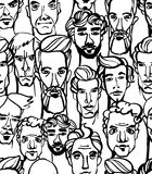Seamless pattern of male doodle hand drawn portraits. Black and Stock Photography