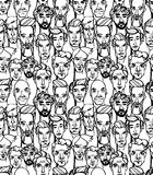 Seamless pattern of male doodle hand drawn portraits. Black and Royalty Free Stock Photography