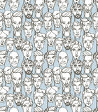Seamless pattern of male doodle hand drawn portraits. Blue, gray Royalty Free Stock Photography