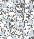 Seamless pattern of male doodle hand drawn portraits. Blue, gray Stock Photos