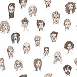 Seamless pattern of male and female doodle hand drawn portraits Royalty Free Stock Photos
