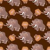 Seamless pattern with mammoths Royalty Free Stock Photo