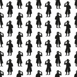 Seamless pattern man in a hat and glasses Royalty Free Stock Photography