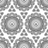 Seamless pattern mandala mehndi floral lace elements of buta decoration items on white background. Stock Photography