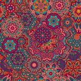 Seamless pattern mandala ornament. Vintage decorative elements. Colorful oriental background. Tribal motif surface design vector illustration