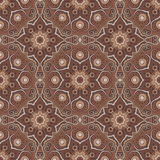 Seamless pattern with Mandalas in brown iced coffee colors. Vector ornaments, background Royalty Free Stock Photos