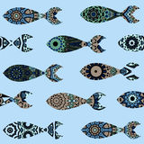 Seamless pattern with mandalas fish Stock Images
