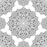 Seamless pattern of mandalas. Oriental seamless pattern of mandalas. Vector black and white background Royalty Free Stock Photo