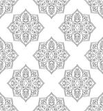 Seamless pattern of mandalas. Oriental seamless pattern of mandalas. Vector black and white background. Template for carpet, wallpaper, textile Stock Photo