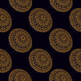 Seamless pattern with mandalas. Seamless pattern with round golden mandalas royalty free illustration