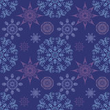 Seamless pattern with mandalas snowflakes in beautiful colors for your design. Vector background Stock Photography