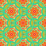 Seamless pattern with Mandalas. Vector ornaments in trendy colors for your design Royalty Free Stock Images