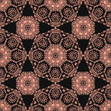 Seamless pattern with Mandalas. Vector pink ornaments on black background Stock Images