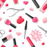 Seamless pattern with manicure tools. Nail polishes and professional equipment for manicure salons Vector Illustration