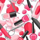 Seamless pattern with manicure tools. Nail polishes and professional equipment for manicure salons Stock Illustration