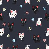Seamless pattern with many black cat and white cat on dark blue background, vector. Seamless pattern with many black cat and white cat on dark blue background stock illustration