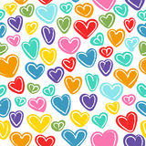 Seamless pattern with many colored hand drawn doodled hearts Royalty Free Stock Photos
