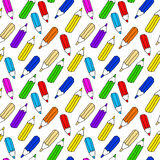 Seamless pattern of many colored pencils Stock Photos