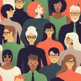 Seamless pattern of many different people profile heads. Vector background. vector illustration