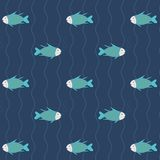 Seamless pattern many fish in blue water, background. Stcok Royalty Free Stock Photography