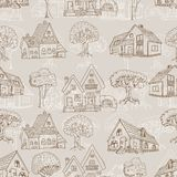 Seamless pattern with many houses and trees. Hand drawing Royalty Free Stock Images